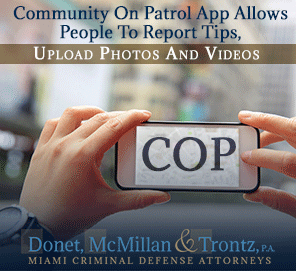 Picture of Cop App User Reporting a Tip To Insure Justice for Florida Criminal Law