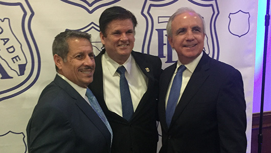 Comissioner Pepe Diaz, Dade County PBA President Steadman Stahl and Miami Dade Mayor Carlos Gimenez