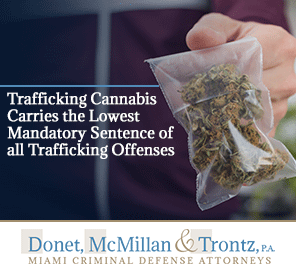Picture of Drug Trafficking. Trafficking in Cannabis Has the Lowest Mandatory Sentence. Learn more from Miami Drug Crime Lawyers